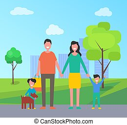 Family in City Park People Vector Illustration