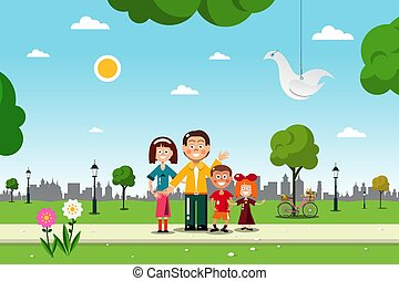 Family in City Park. Vetor Flat Design Illustration.