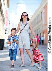 Family in city