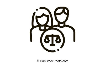 Family in Court Law And Judgement animated black icon on white background