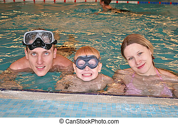 family in covered pool