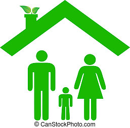 Family in ecologic house