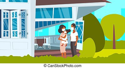 family in face masks toxic air pollution industry smog polluted environment concept african american parents and child standing in front of modern house exterior full length horizontal