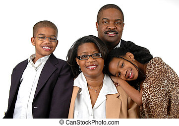Family with formal attire over a white background