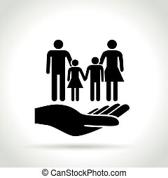 family in hand concept icon