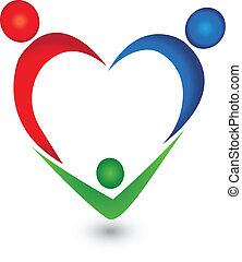 Family in heart shape logo