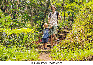 Family in hiking. Dad and son walking in the forest with trekking sticks