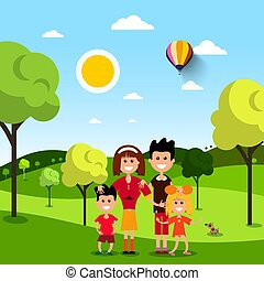 Family in Park. People on Field. Vector Flat Design Illustration.
