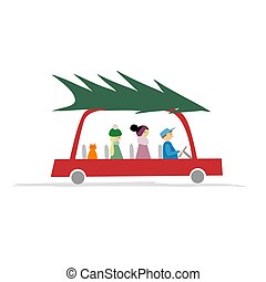Family in red car with green christmas tree on the roof