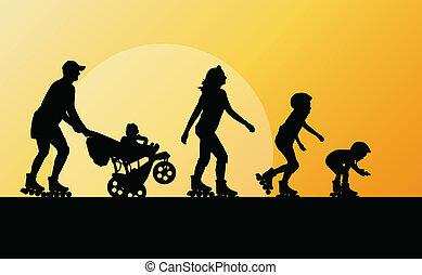 Family in roller skates vector background concept for poster
