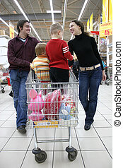 family in shop