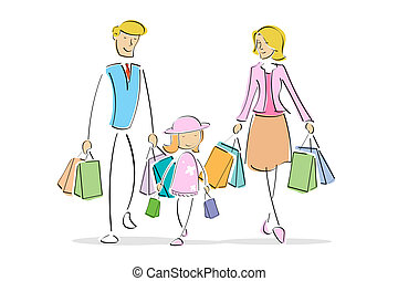 family in shopping - illustration of family with shopping ...