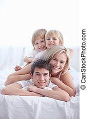 Family in the bedroom