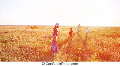 family in the field