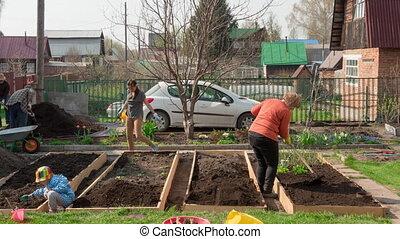 Family in the garden, timelapse