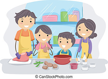 Illustration of a Family Preparing Ingredients for Cooking