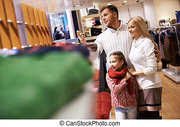 Family in the mall