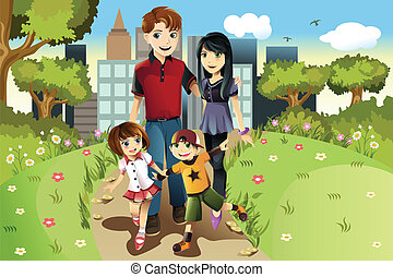 Family in the park - A vector illustration of a family ...
