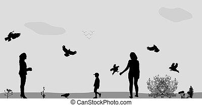 Family in the Park Feeding Birds. Vector Illustration.