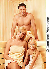Family in the sauna