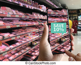 Family in the supermarket use Application of Augmented Reality Supermarket for Discounted or on Sale