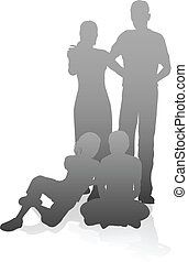 Family in very detailed silhouettes