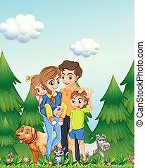Family in woods scene