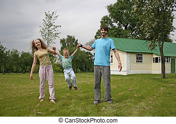 family in yard