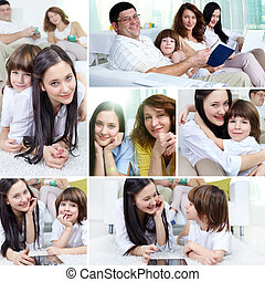 Family indoors - Collage of a happy family of four spending...