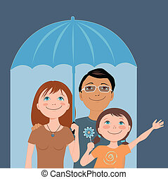 Family insurance - Cute cartoon family under an umbrella,...