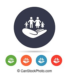 Family insurance sign. Hand holds human group.