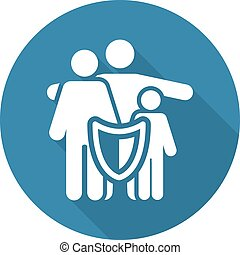 Family Insurance Solutions and Services Icon. Flat Design....