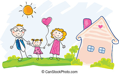 Family is moving into new house - Doodle vector Illustration...