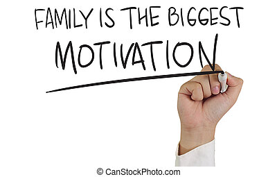 Motivational concept image of a hand holding marker and write Family is the biggest motivation isolated on white