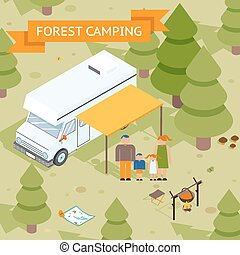 Family isometric forest camping