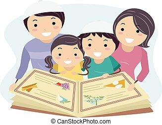 Family Jewish Reading Haggadah Illustration - Illustration ...