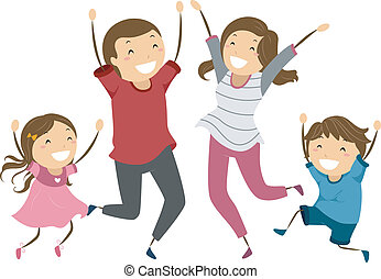 Family Jump - Illustration of a Family Jumping and Waving...