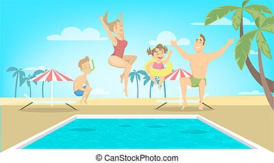 Family jump in pool.