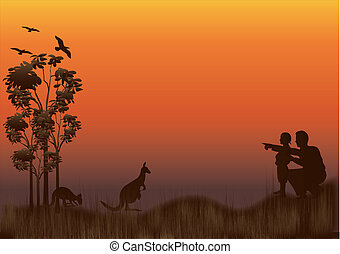 family kangaroo sunset - silhouette of australian outback...