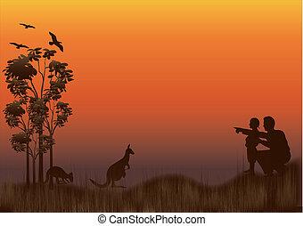 family kangaroo sunset - silhouette of australian outback...