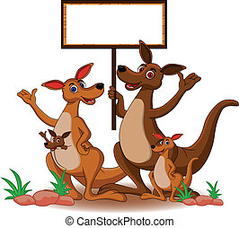 family kangaroo with blank board - vector illustration of...