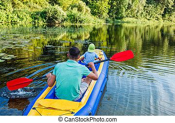 Family kayaking on the river