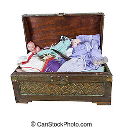 A large wooden trunk of family keepsakes and items kept in memory - path included