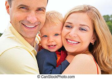 family., lächeln, closeup, gesichter