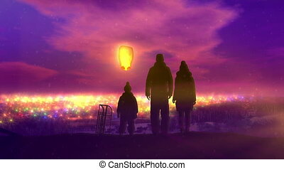 Family launches Chinese lantern for Christmas.