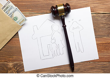 Family law concept. Divorce section of the property by legal...