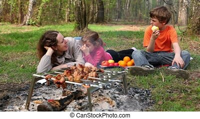 Family lay on grass covered by plaid, kebab on bonfire at foreground