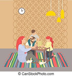 Family Leisure at Home, People Playing Game Vector