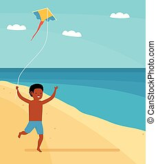 Family leisure. Summer time. Happy boy running on the beach with a kite in hand.