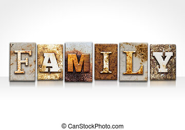 Family Letterpress Concept Isolated on White - The word...
